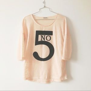 Noisy May no5 graphic pink crew neck sweater